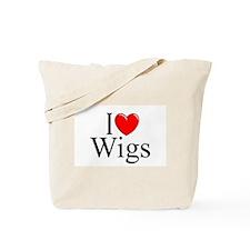 """I Love (Heart) Wigs"" Tote Bag"