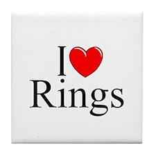 """""""I Love (Heart) Rings"""" Tile Coaster"""