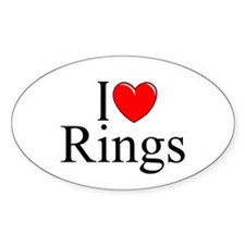"""I Love (Heart) Rings"" Oval Decal"
