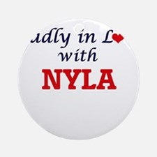 Madly in Love with Nyla Round Ornament