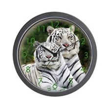Twin White tigers Wall Clock