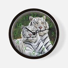 Twin White tigers Wall Clock