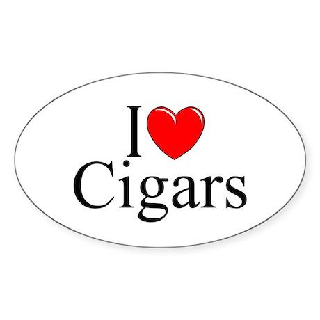 """I Love (Heart) Cigars"" Oval Sticker"