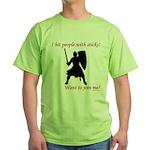 Hit with Sticks Green T-Shirt