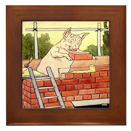 """""""Pig Handyman/Bricklayer"""" Framed Tile"""