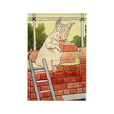 """Pig Handyman/Bricklayer"" Rectangle Magnet (100 pa"