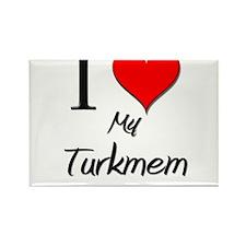 I Love My Turkmem Rectangle Magnet