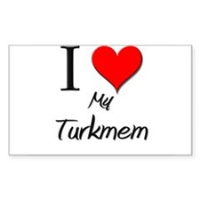 I Love My Turkmem Rectangle Decal