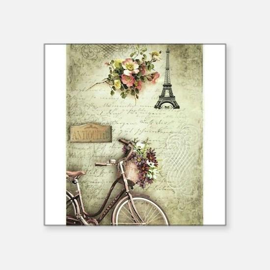"""Bicyclette a Paris Square Sticker 3"""" x 3"""""""