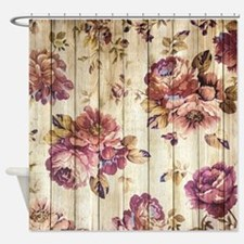 Vintage Pink Roses On Wood Shower Curtain