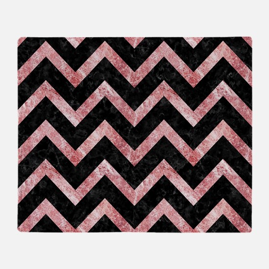 CHEVRON9 BLACK MARBLE & RED & WHITE Throw Blanket