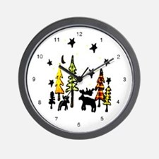 Snowman Stars Folk Art  Wall Clock
