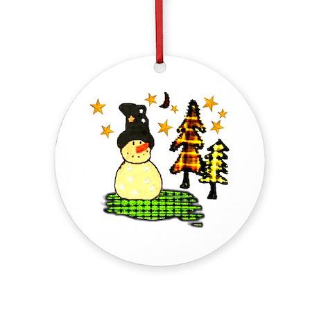 Snowman Stars Folk Art Ornament (Round)