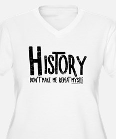 Repeat History Rough Text Plus Size T-Shirt
