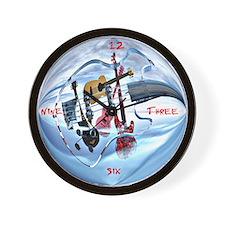Glass Guitar Wall Clock
