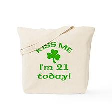 Kiss Me I'm 21 w/Shamrock Tote Bag