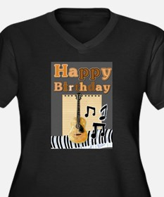 Musical Guitar Happy Birthday Plus Size T-Shirt