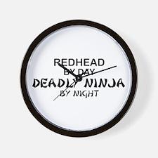Redhead Deadly Ninja Wall Clock
