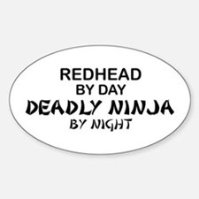 Redhead Deadly Ninja Oval Decal