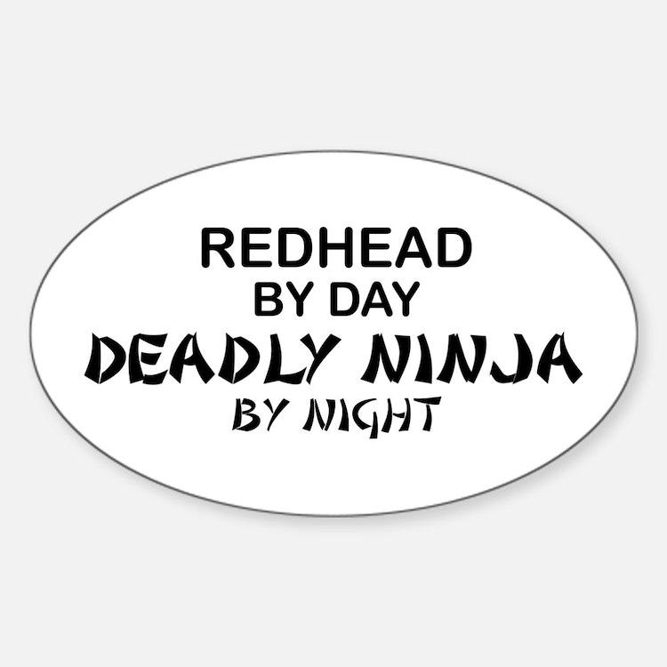 Redhead Deadly Ninja Oval Decal
