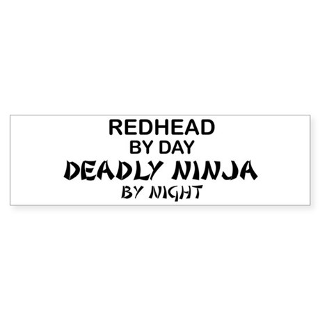 Redhead Deadly Ninja Bumper Sticker