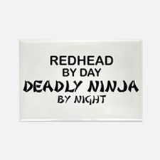 Redhead Deadly Ninja Rectangle Magnet