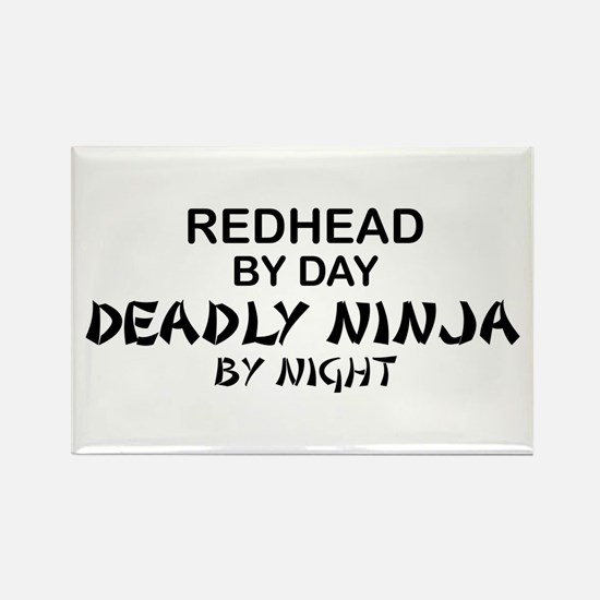 Redhead Deadly Ninja Rectangle Magnet