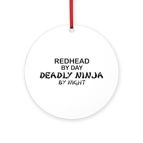 Redhead Deadly Ninja Ornament (Round)