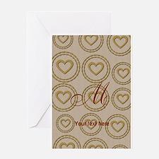 Cute Gold Heart Pattern Linen Greeting Cards