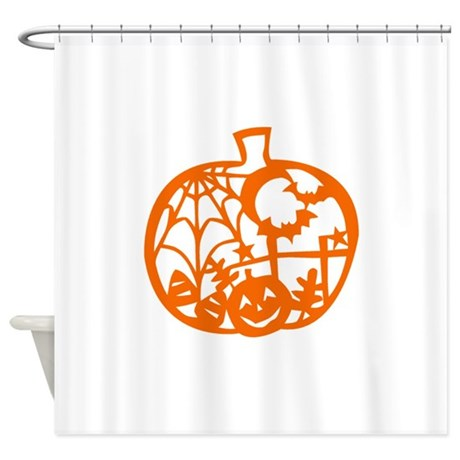 Pumpkin Cutout Shower Curtain By Lunaazulstudio
