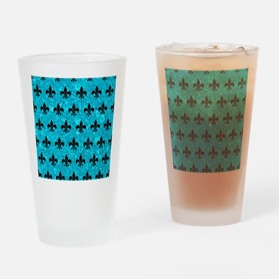ROYAL1 BLACK MARBLE & TURQUOISE MAR Drinking Glass