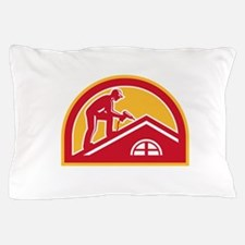 Roofer Working on Roof Half Circle Retro Pillow Ca