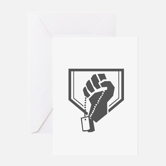 Soldier Hand Clutching Dogtag Crest Retro Greeting