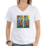 VINTAGE CAT ART Women's V-Neck T-Shirt