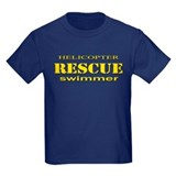 Kids coast guard helicopter rescue emblems on Kids T-shirts (Dark)