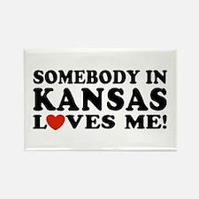 Somebody in Kansas Loves Me Rectangle Magnet