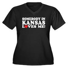 Somebody in Kansas Loves Me Women's Plus Size V-Ne
