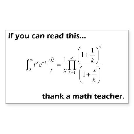 Thank A Math Teacher Sticker (Rectangle)
