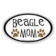 Beagle Mom Oval (inner border) Oval Decal