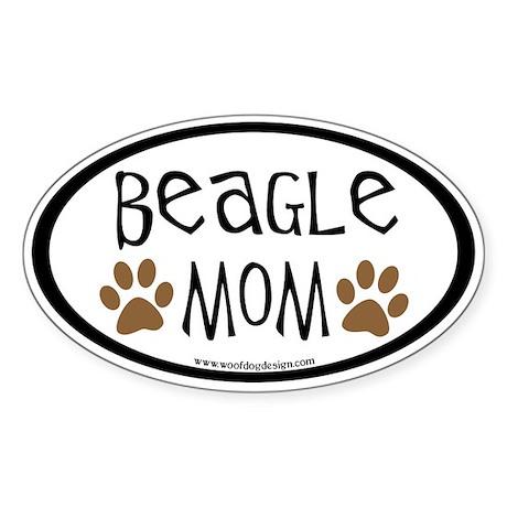 Beagle Mom Oval (inner border) Oval Sticker