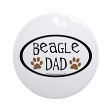 Beagle Dad Oval Ornament (Round)