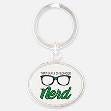 Cute Nerd Oval Keychain