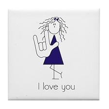 I Love You Girl - Blue Tile Coaster