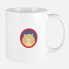 Cute fluffy Hamster with red circle Mugs