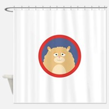 Cute fluffy Hamster with red circle Shower Curtain
