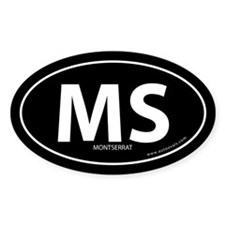 Montserrat country bumper sticker -Black (Oval)