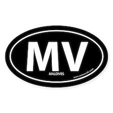 Maldives country bumper sticker -Black (Oval)