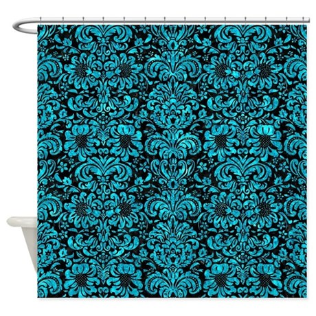 DAMASK2 BLACK MARBLE TURQUOISE MA Shower Curtain By TrendiPatterns0