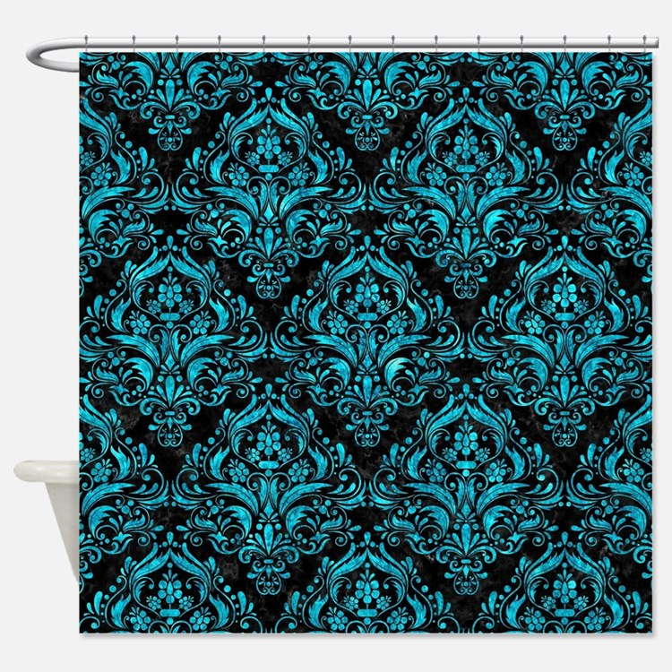 Teal Pattern Shower Curtains