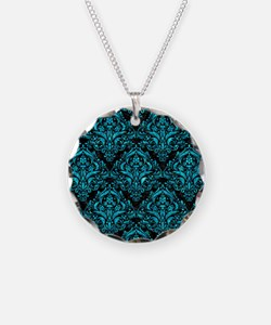 DAMASK1 BLACK MARBLE & TURQU Necklace